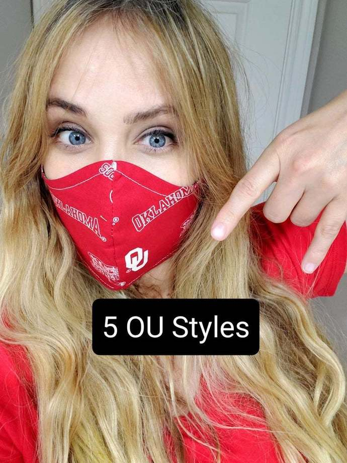 Oklahoma Sooners, OU, Washable Face mask, Double Layered, USA, Lightweight