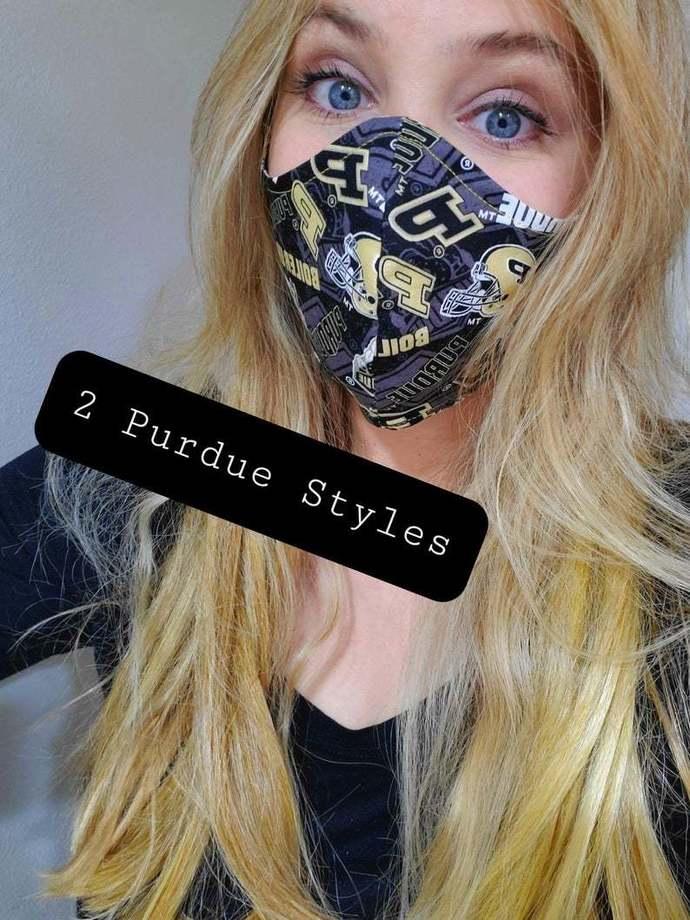 Purdue University,Washable Face mask, 100 percent cotton, double layered, sewn