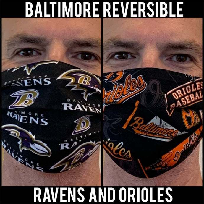 Reversible Face Mask - Baltimore Ravens AND Orioles Mask - NFL Baltimore Ravens,