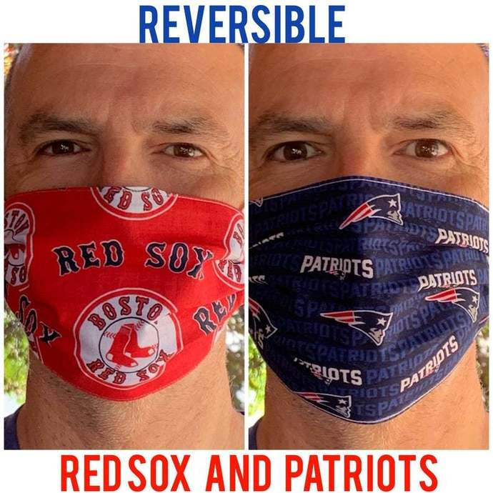 Reversible Face Mask - Boston Red Sox On One Side, Reversible to New England