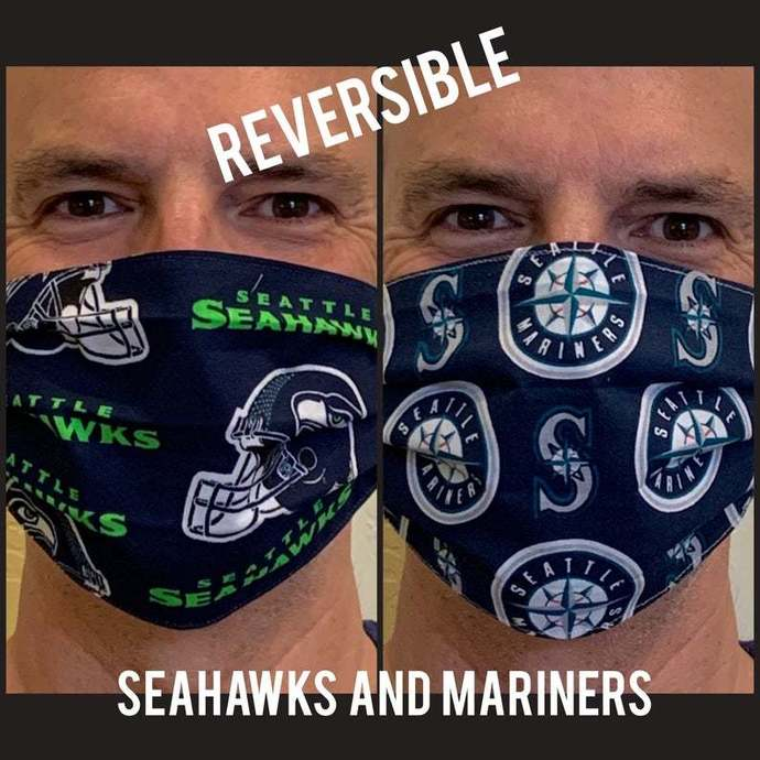 Reversible Face Mask - Seattle Seahawks AND Seattle Mariners Mask - NFL