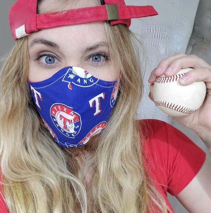 Texas Rangers, Washable Face mask, MLB, Double Layered, Sewn in Houston Texas,