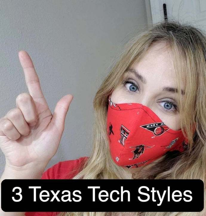 Texas Tech, TT Red Raiders, Washable Face mask, Double Layered, USA, Lightweight