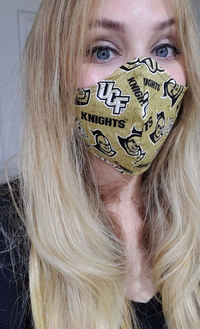 UCF Knights, University of Central Florida, Washable Face mask, Double Layered,