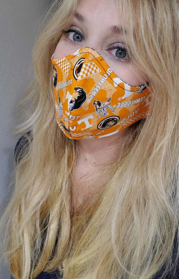 University of Tennessee Volunteers, Washable Face mask, Double Layered, Sewn in