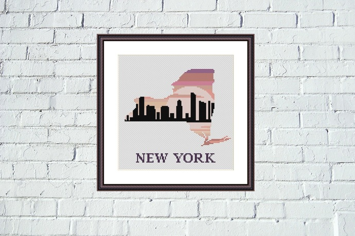 New York map cross stitch pattern