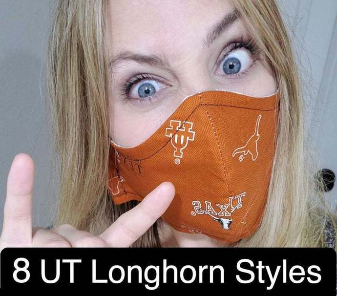University of Texas, UT, Washable Face mask, LongHorns, Double Layered, Sewn in