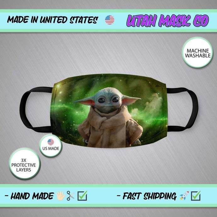 Baby Yoda Face Mask, Baby Yoda Mask