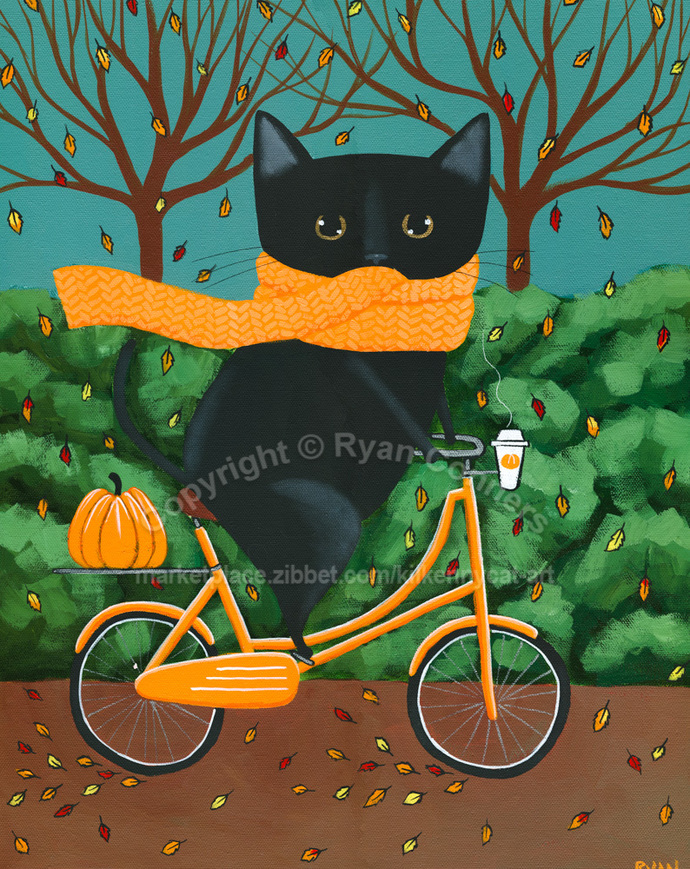 "16"" x 20"" The Autumn Bicycle Ride Original Whimsical Black Cat Folk Art Painting"