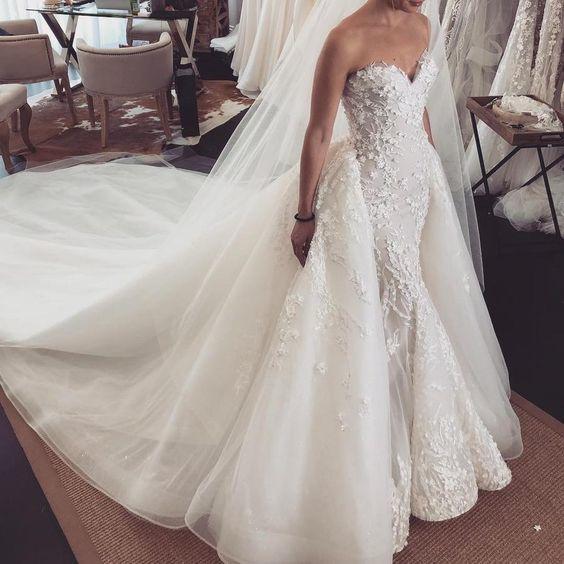 detachable skirt wedding dresses for bride vestido de novia 2021 robe de mariee