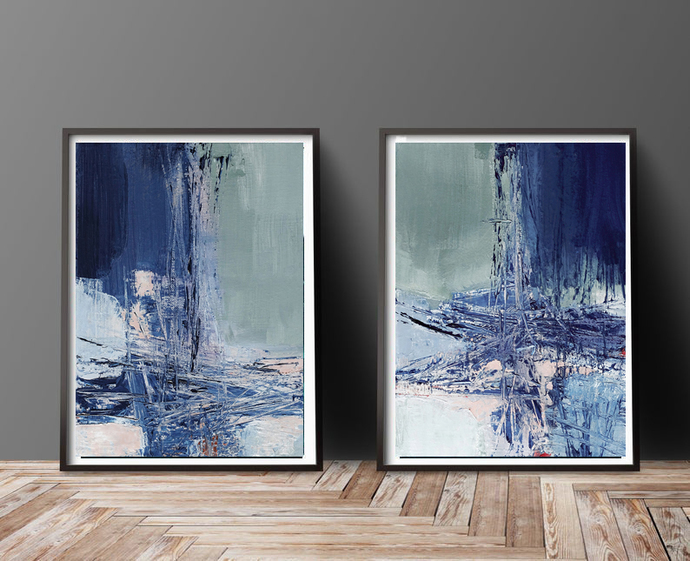 Set of 2 printable painting, instant download blue abstract painting, printable