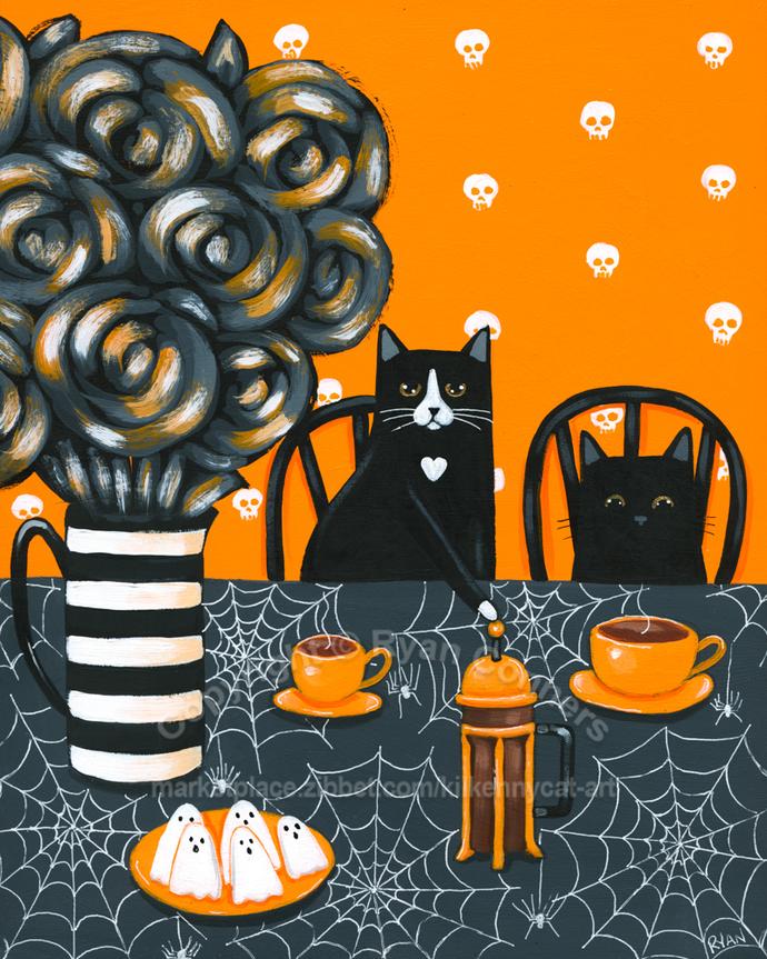 Halloween French Press Coffee Cats Original Cat Folk Art Painting