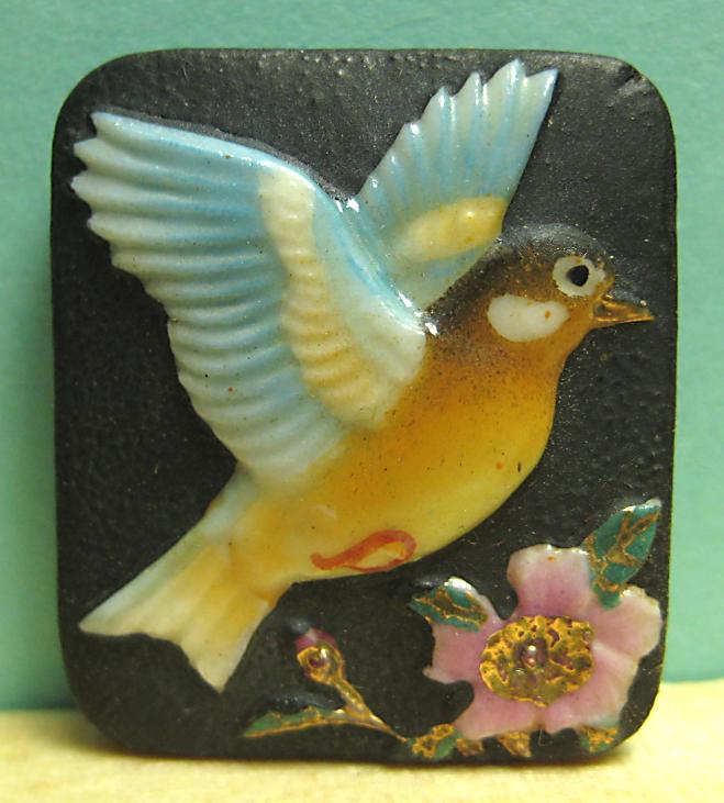 Arita Porcelain Bird and Flower Button