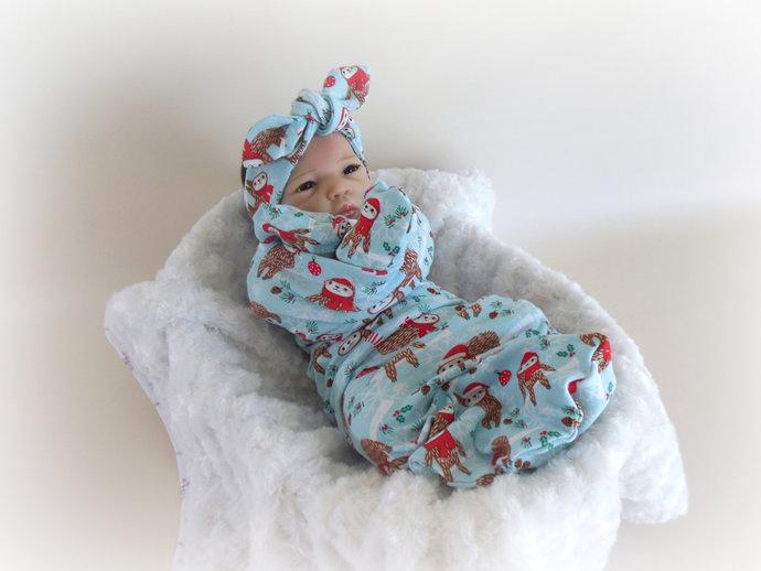 Holiday Sloth Swaddle Sack, Christmas Sloth Sleep Sack, Sloth Baby Hat, Sloth
