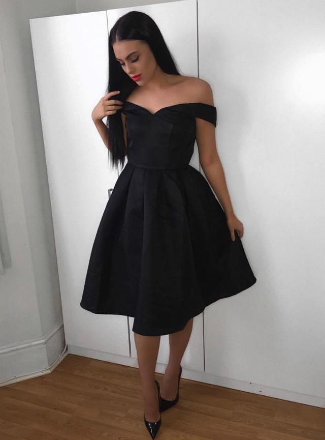 Black Satin Off the Shoulder Midi Simple Tea-Length Homecoming Dress,BP3414