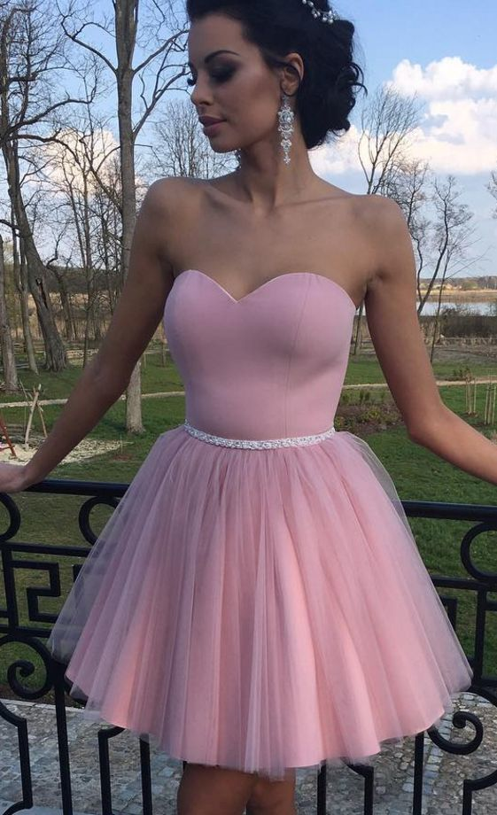 pink beaded prom dresses short tulle sweetheart neck simple cheap graduation