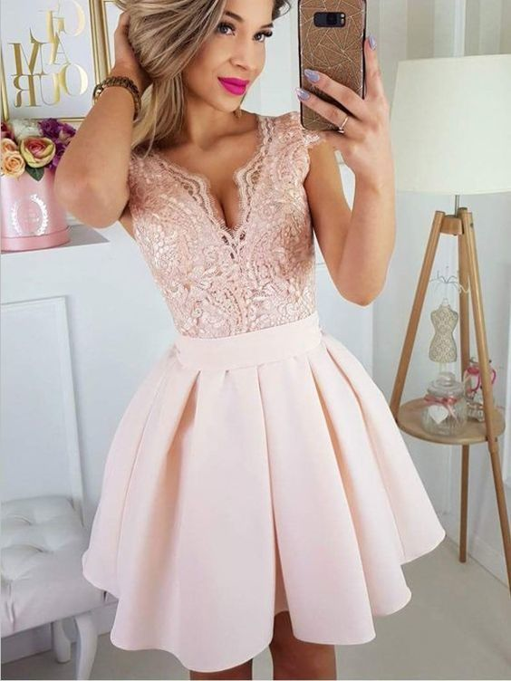 Newest Deep V Neck Lace Top Satin A Line Short Homecoming Dress M3013