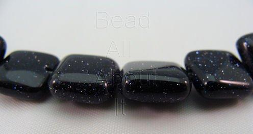 Blue Goldstone 10mm puffed Square Strand