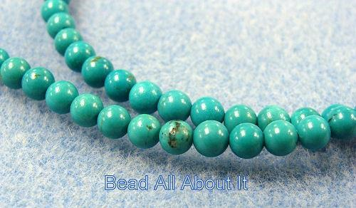 Chinese Turquoise Grade AA  4-5mm Rounds  Beads Strand