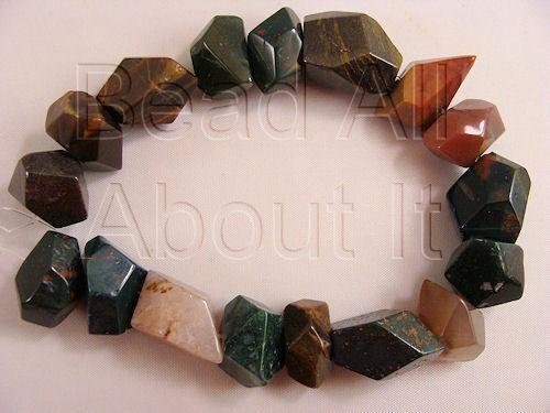 Fancy Jasper Faceted Nugget Beads Strand