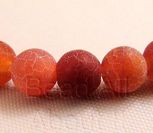 Fire Agate Matte 4mm Round Beads Strand
