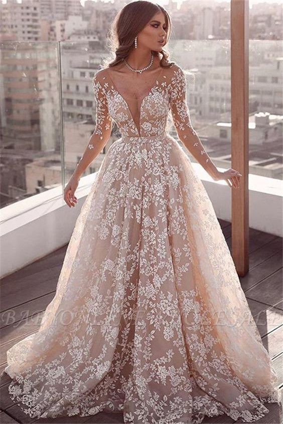 champagne wedding dresses for bride lace applique long sleeve elegant a line