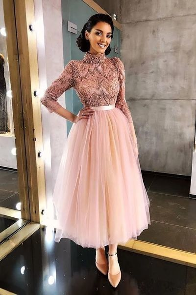 pink prom dresses 2020 beaded lace applique elegant high neck prom gown 2021