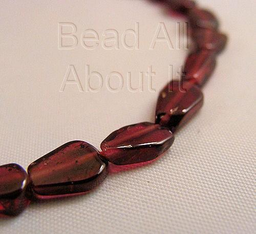 Red Garnet Pear Shape Beads Strand