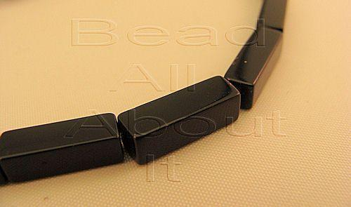 Black Onyx 13x4mm  Rectangle Prism Beads Strand