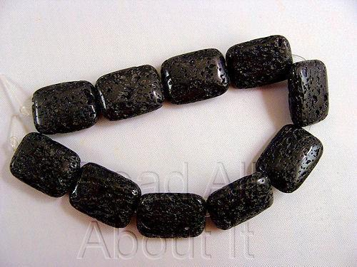Black Lava Rock 20x15mm puffed Rectangle Beads Strand