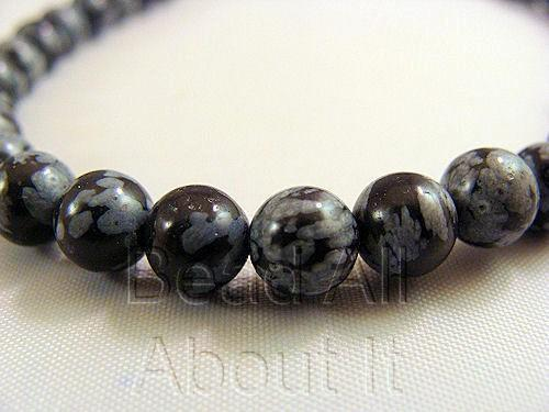 Snowflake Obsidian 6mm Round Beads Strand