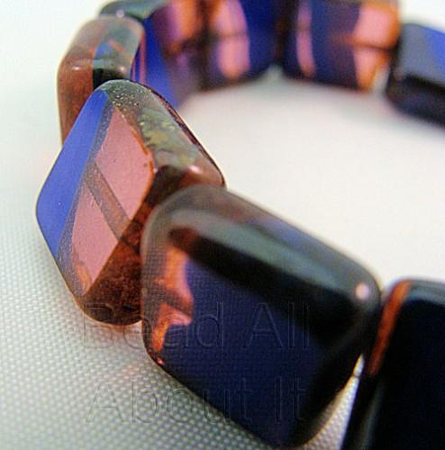 Czech Glass Pink and Blue 10mm Square Beads