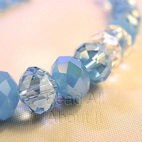 Chinese Crystals 8x5mm Faceted Rondelles Winter Blues Beads Strand