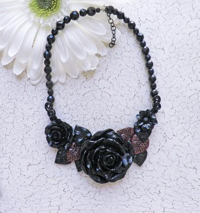 Black on black rose bib collar necklace victorian goth style N64