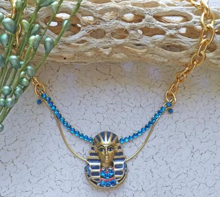 King Tut gold collar necklace with Swarovski Bermuda Blue crystals N65