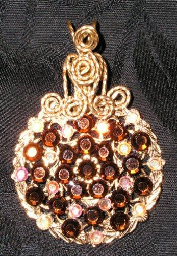 Smokey topaz and AB Swarovski crystal round filigree pendant   P77