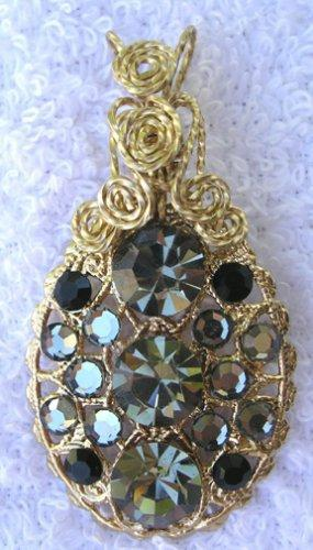 Black diamond Swarovski oval filigree pendant and gold filled bale P78