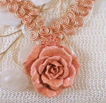 Rose gold mega Egyptian swirl/coil necklace and rose pendant   N34