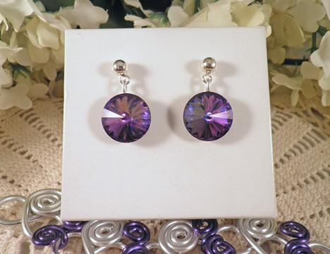 Silver purple heliotrope fancy lacy swirl necklace earring set   N22