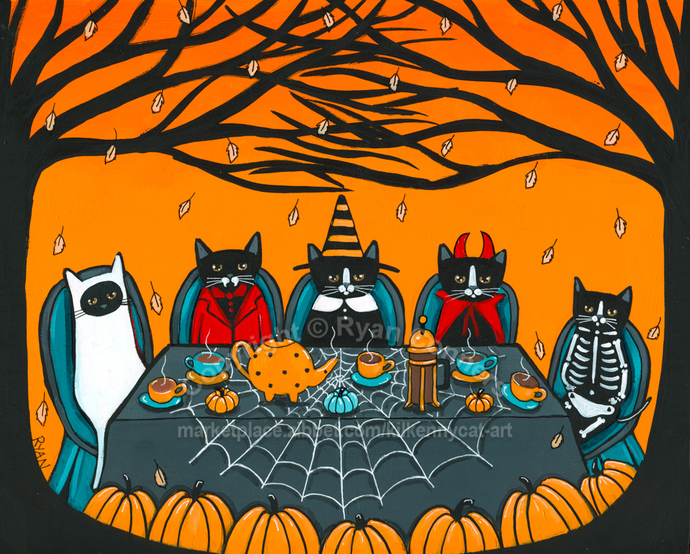 Halloween Coffee and Tea Party Original Cat Folk Art Painting