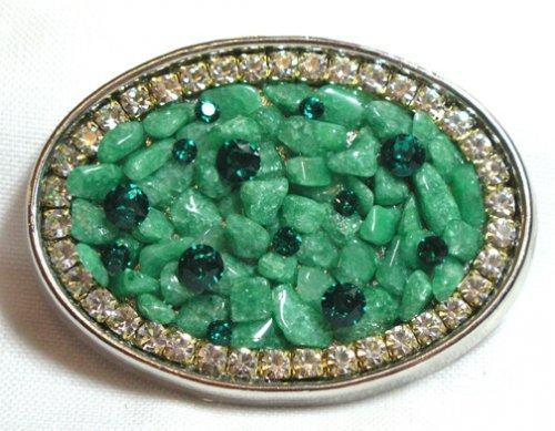 Green Aventurine and Swarovski crystal silver oval belt buckle  B38
