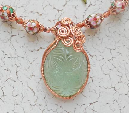 Carved fluorite copper wrapped pendant with cloisonne necklace and earring set