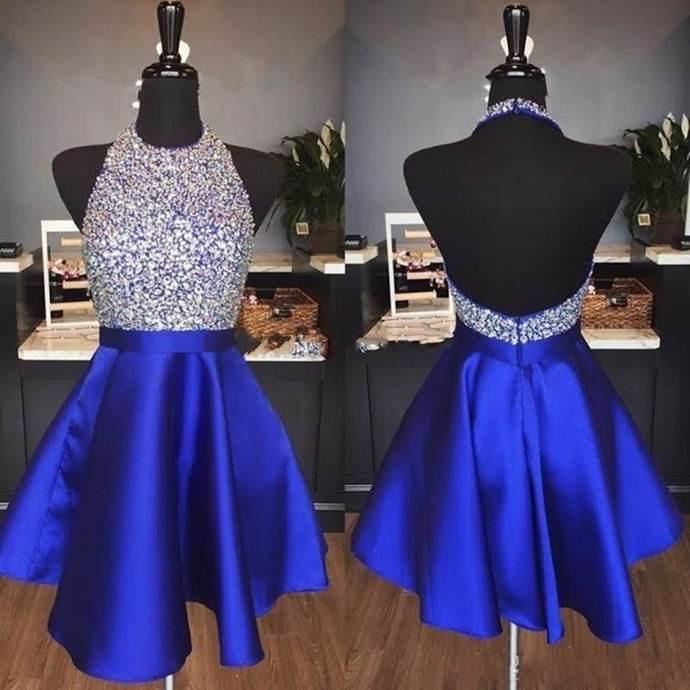 WDG013,Luxury Royal Blue Beading Homecoming Dresses,Halter A line Prom Dresses