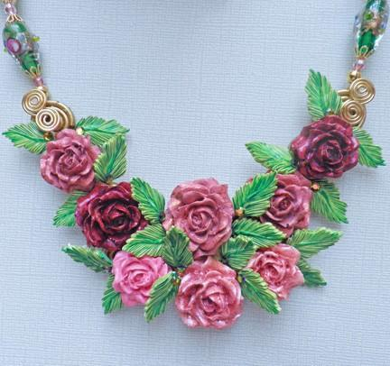 Pink roses bouquet bib necklace set with vintage lampwork beads N74