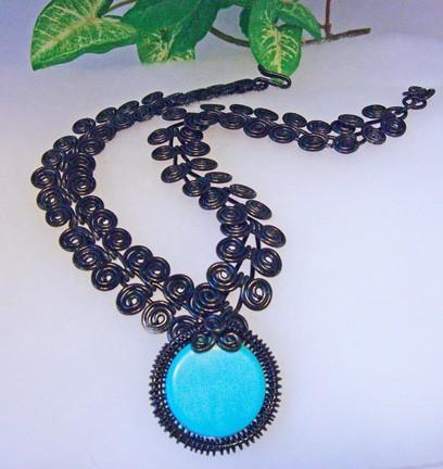 Black mega Egyptian swirl coil necklace and turquoise pendant   N5