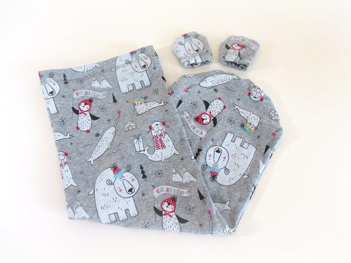 Holiday Animal Swaddle Sack, Christmas Polar Animals Sleep Sack, Christmas