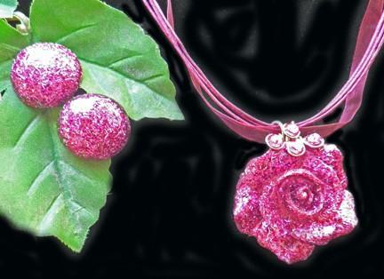 Full bloom rose in fuschia and silver glitter hand cast necklace with matching