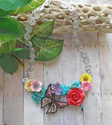 Unique multi-color flowers and Monarch butterfly handcrafted collar bib style
