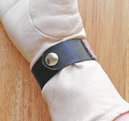 Vintage Light Rose or Pink Swarovski rhinestone buckle and black leather cuff