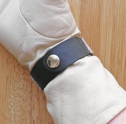 Black leather snap cuff bangle bracelet with vintage Swarovski rhinestone buckle